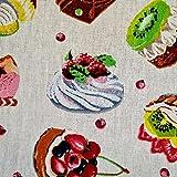 Stoff Baumwolle Meterware Törtchen Kuchen Petit Fours bunt
