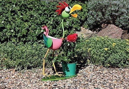 Divertido Maceta Soporte Pájaro, Colorido Jardín Figura Metal con Maceta