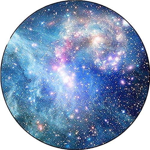 NLGGY Alfombra Redonda Azul Cielo Estrellado Alfombra para Dormitorio Sala de Estar balcón decoración del hogar Matón Antiadherente 40/60/80/100/120/140/150 / 160cm-140 * 140 cm