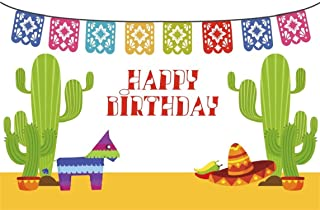 CSFOTO 5x3ft Background for Cactus Pepper Happy Birthday Party Decor Photography Backdrop Birthday Banner Paper Animal Hat Mexico Style Children Kid Portrait Photo Studio Props Polyester Wallpaper