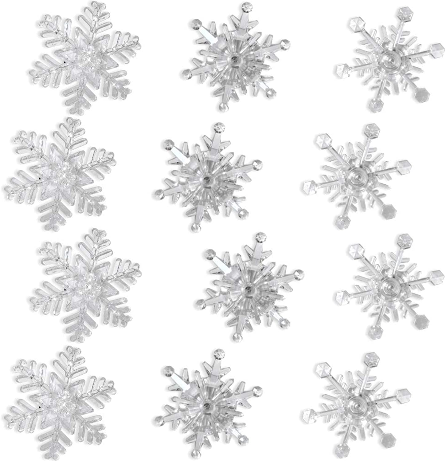 Snowflake color Changing Led Lights Set of 12 Snowflakes with Suction Cups Attached to Back for Hanging in a Window Acrylic - 4 Inch- Snowflake Decorations– Night Light Window Clings- Seasonal Window
