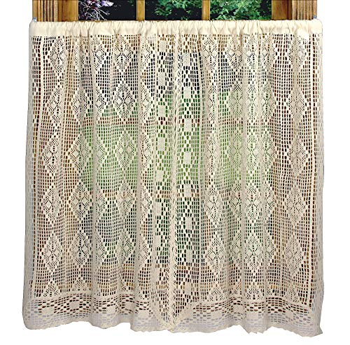 Diamond Crochet 58 Inches Wide x 36 Inches Long Cotton Tier Curtain, Beige