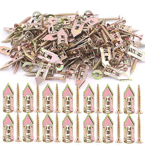Swpeet 100Pcs Drywall Self-Drilling Anchors with 100Pcs Screws Kit, No Drill Or Holes in Wall Perfect for TV, Bike, Shelf Straps, Cabinet & Decoration Fixing Curtains, Calligraphy, Wall Cabinets