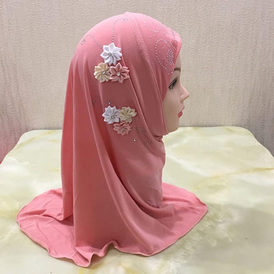 Kids Girls Flowers Hijab Chiffon Head Scarfs Head Wrap Solid Color Muslim Hijab Lace Islamic Scarf Shawls Stretch Turban Anti-UV Bonnet Hat Arabian Bandana (2-7 Y)