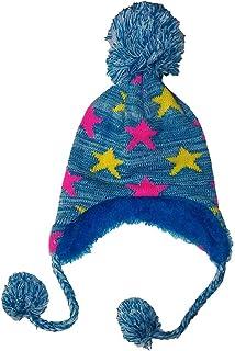 إكسسوارات الفتيات قبعة الشتاء فازي إيرفليز بوم باللون الأزرق ونجوم مارلد مقاس واحد