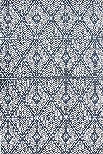 The Rug House Tapis Résistant 100% Coton Recyclé Bleu Crème Aztèque Tissé Tissage Plat Treillage Tapis Cuisine Buanderie S...