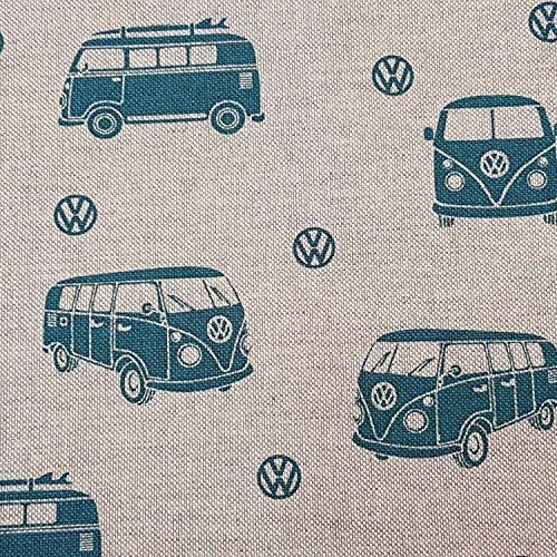 Stoff Meterware Baumwolle Bully VW Natur Petrol T1 Bully Bus Volkswagen