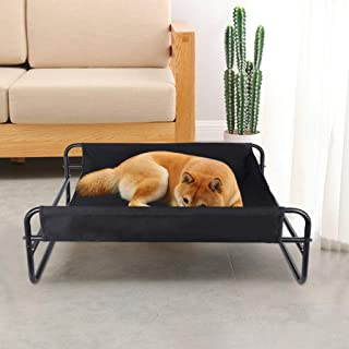 Shan-s Breathable Iron Art Dog Bed Detachable Camp Bed Kennel Outdoor Portable Elevated Cooling Pet Bed Cat/Dog for Camping or Beach,Durable Textilene Mesh Fabric, No-Slip Feet