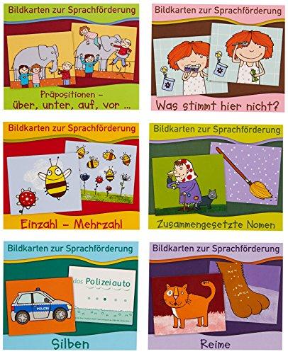 Bildkarten zur Sprachfrderung '19 Paket: Reime / Einzahl - Mehrzahl / Zusammengesetzte Nomen / Was stimmt hier nicht? / Silben / Prpositionen