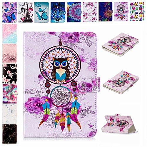 E-Mandala Universal 8 Zoll Hülle Etui Flip Hülle Leder Wallet Cover Tablet PC Tasche mit Kartenfach Klapphülle Ledertasche Lederhülle - Traumfänger Feder Eule