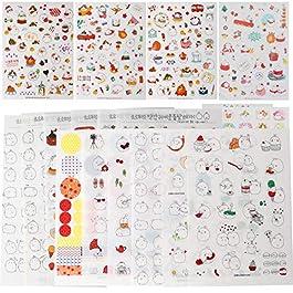 "Inovat Cute ""Molang Rabbit"" Bunny Rabbit Charactor Sticker Diary Scrap Book Scrapbooking Decor Decoration Lot Korean Stationery, Version 1st&2nd&3rd, 18 Sheets"