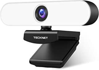 TECKNET Webcam 1080P, Webcam per PC con Microfono con Cancellazione Del Rumore, Full HD, Luce ad Anello 3 Colori, Rotazion...