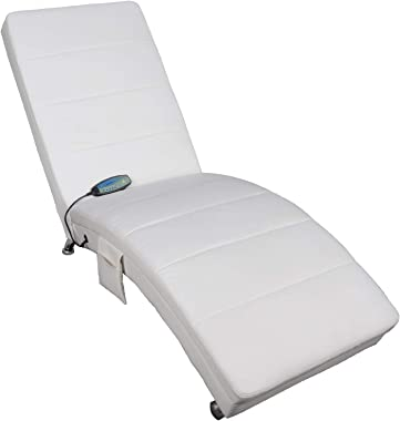 Polar Aurora Massage Chaise Lounge - PU Leather Ergonomic Electric Recliner Chair with Remote Control and Heating Function Wh