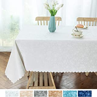 "smiry Waterproof Vinyl Tablecloth, Rectangle Stain-Proof Oil-Proof Heavy Duty Table Cloth, Wipeable Table Cover for Kitchen and Dining Room (White, 52"" X 70"")"