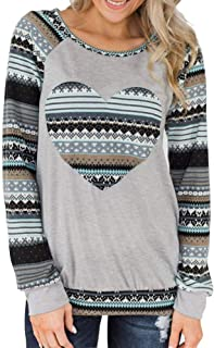 Womens Raglan Baseball Shirts Cute Love Heart Print Long Sleeve Tunic Tops