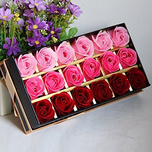 Butterme 18Pcs Konservierte Rosenduft Steigung-Farben-Badeseife Rose in Geschenkbox Bestes Geburtstags-Valentinstag-Geschenk