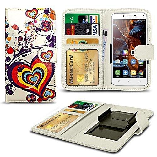 N4U ONLINE® Verschiedene Muster Clip Serie Kunstleder Brieftasche Hülle für Oppo Neo 7 - Herz