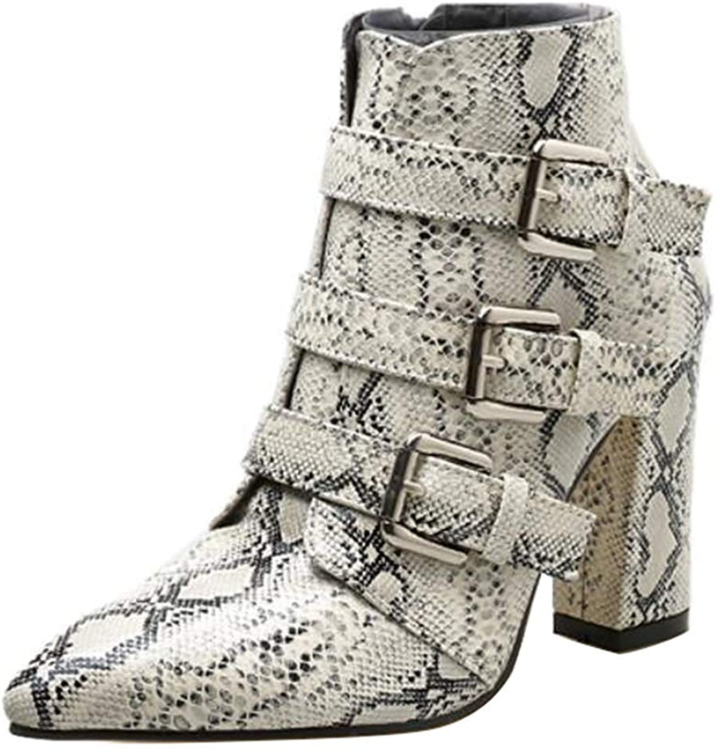 Lelehwhge Women's Sexy Print Buckle Strap Booties Pointed Toe High Block Heel Side Zipper Ankle Boots Snakeskin 7 M US