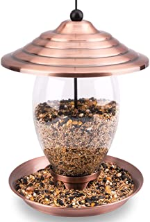 Birdream Metal Bird Feeder Outdoor Hanging Bird Feeders for Outside with Copper Brush Finish Glass Container Holds 3lb See...