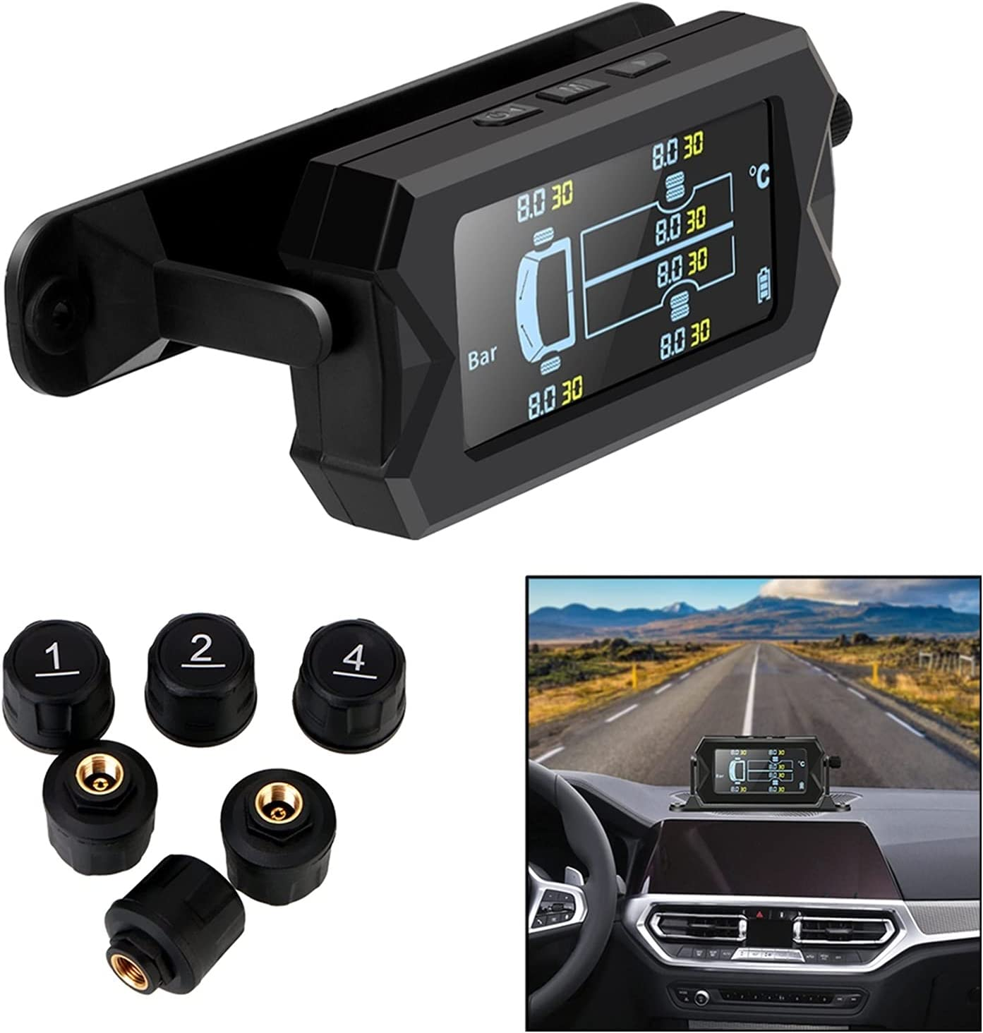 Coche RV Camión TPMS Digital LCD Sistema de monitoreo de presión de neumáticos solares inalámbricos de alarma con 6 sensores externos