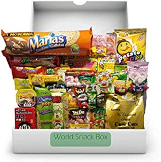 Elite World Snack Sampler Box (50 Count) | 10 big snacks + 40 global candies | Huge Assortment of Asian Snacks, European Treats, Central American Candy and more | Gift Care Package |