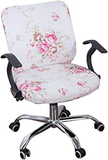 KKONION Office Chair Covers Stretch Cotton Fabric Computer Slipcover Flower Printed Removable Rotating Chair Covers