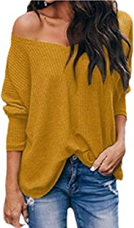 Womens Waffle Knit Tunic Blouse Long Sleeve V Neck Batwing Sleeve Sweaters