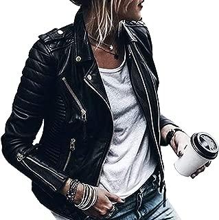 HAHASOLE Faux Leather Jacket Womens Motocycle Long Sleeve Moto Biker Jacket Short Coat Zipper Pockets Rivet Outwear