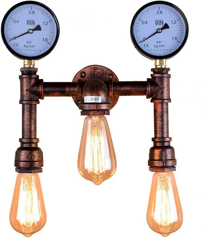 Steampunk Water Pipe Wandleuchte Vintage Industrial Stil Wandlampe Roter Rost Lampenkrper mit Manometer 3 Flammig für Loft Esszimmer Hotel Korridor Café Bar E27