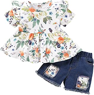 Toddler Baby Little Girls Denim Shorts Set Ruffle Sleeve Floral Tops Ripped Jeans Shorts Pants Summer Clothes Outfits