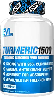 Evlution Nutrition Turmeric Curcumin with Bioperine 1500mg Premium Pain Relief and Joint Support with 95% S...