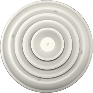 Speedi-Grille SG-RCR 08 8-Inch Round White Ceiling Air Vent Register with Fixed Cone Diffuser and Bowtie Damper