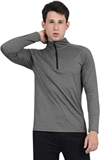 DISHANG Men's Quarter Zip Pullover Activewear Shirt Long Sleeve Gym Shirt
