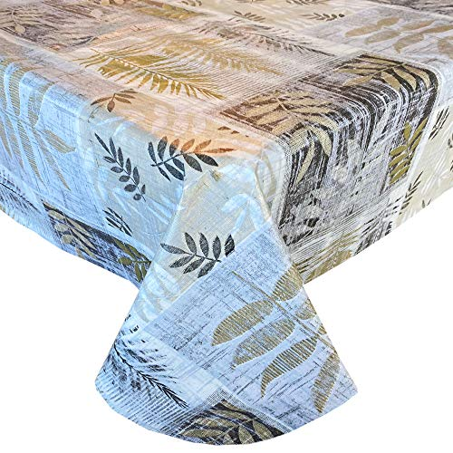 Newbridge Arezzo Contemporary Leaf Print Vinyl Flannel Backed Tablecloth - Grey, Gold and Silver Modern Block Leaves Easy Care Indoor/Outdoor Tablecloth, 52' x 52' Square