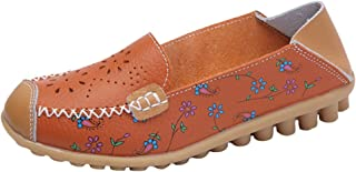 Mordenmiss Womens Floral Leather Loafer Slip-on Driving Moccasins