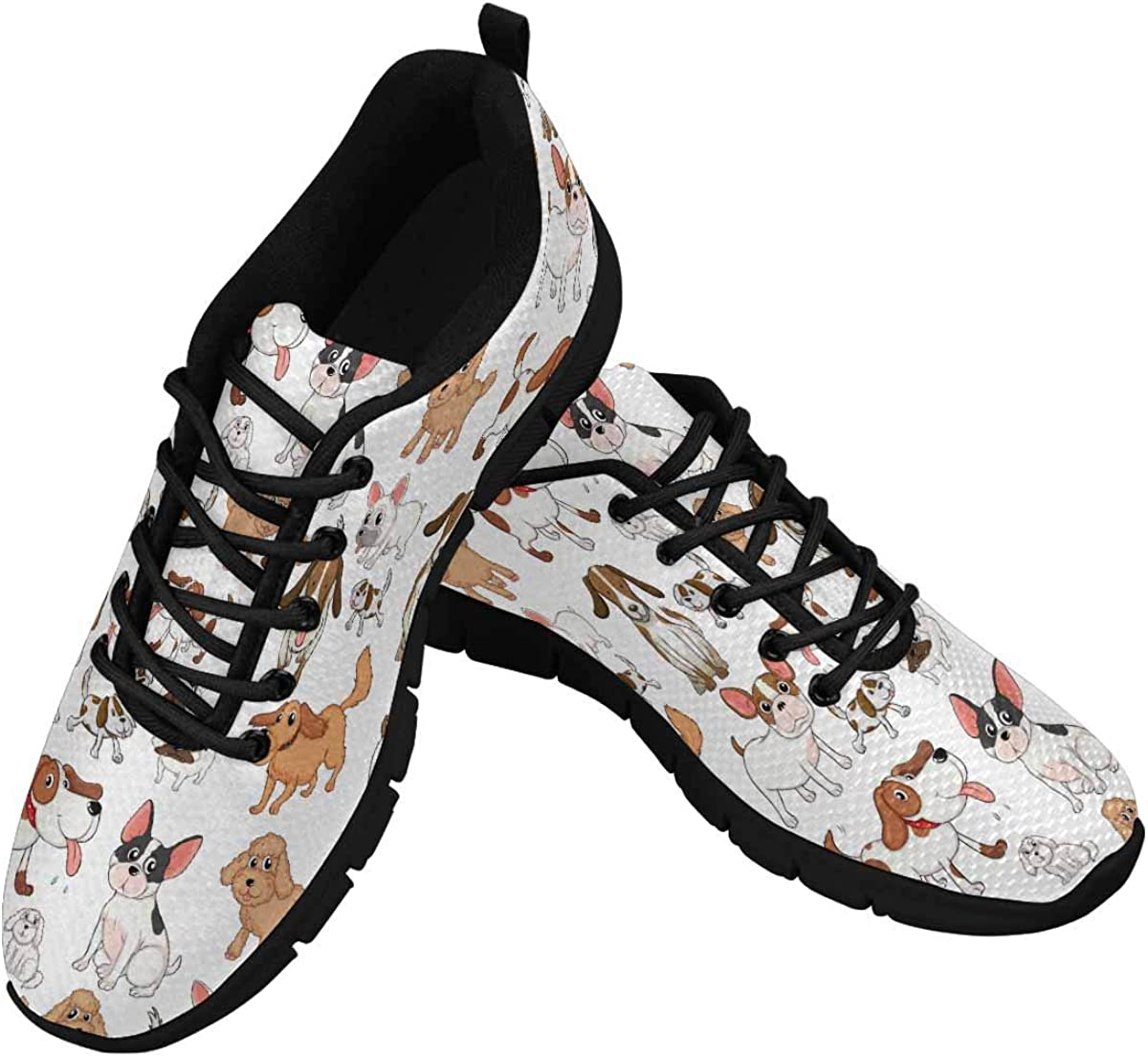 INTERESTPRINT Cute Dogs Pattern Women's Athletic Mesh Breathable Casual Sneakers