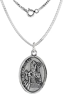 Sterling Silver St Blaise Medal Necklace Oval 1.8mm Chain