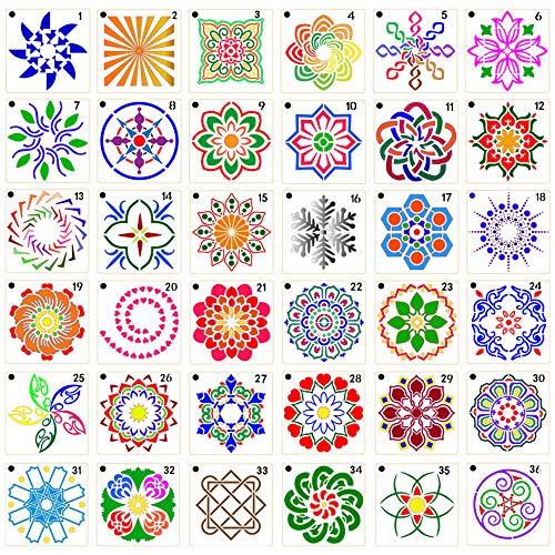 TOPmountain Juego de Plantillas Mandala 36 Piezas Plantillas Reutilizables de Corte/Airbrush Plantillas Mandala para Muebles de Pared Piedra Madera 9cm