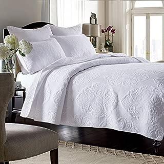 Brandream White Vintage Paisley Comforter Set King Size Bed Quilt Set 100% Cotton