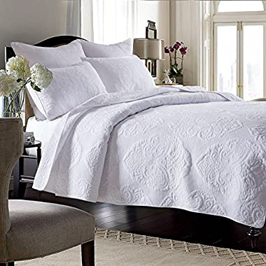Brandream White Vintage Paisley Comforter Set King Size Bed Quilt Set
