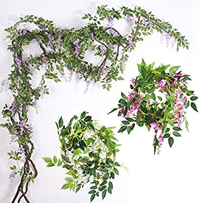 Wedding Decor Wisteria Flower Rattan Artificial Vine Garland Plant Foliage  7FT