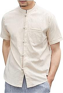 Jumaocio Men's Cotton Linen Short Sleeve Solid Jersey T-Shirt with Pocket