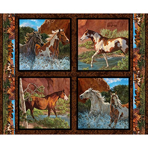 Horse Fabric Wild Wings Pillow Panel Rivers Edge Fabric by The Panel