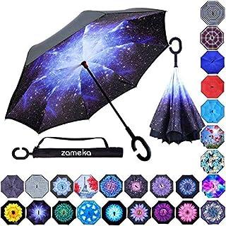 Z ZAMEKA Double Layer Inverted Umbrellas Reverse Folding Umbrella Windproof UV Protection..