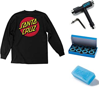 NHS Santa Cruz Classic Dot Men's Long Sleeve T-Shirts,Black,Large - LG with CCS Skate Tool, Bearings, and Wax