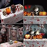 PERFETSELL 2 Stücke Halloween Tischdecke Blutige Halloween Tischdeko 260*130cm Handabdruck Tischtuch für Karneval Fasching Halloween Party Dekoration - 6