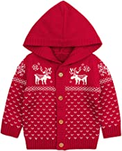 Willsa Baby Girls Jacket, Fashion Cute Soft Comfortable Toddler Baby Christmas Deer Hooded Knitted Tops Warm Coat Clothes