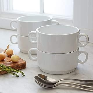 Sur La Table Double-Handle Soup Bowls AP0093-M-S4, Set of 4, White