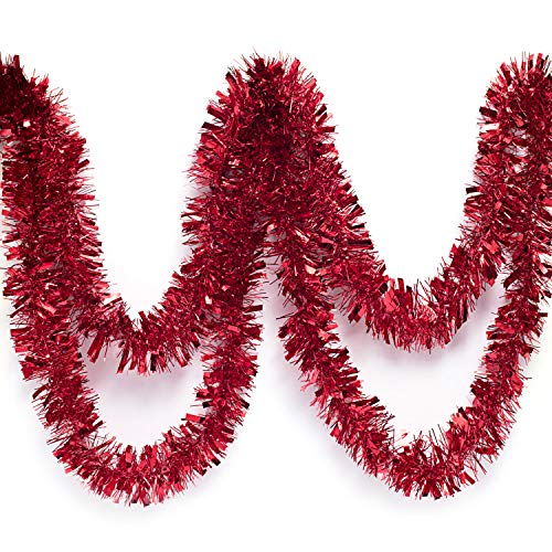 Anderson's Red Metallic Tinsel Twist Garland 4 inches Wide x 25 ft Long
