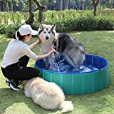 Fuloon PVC Pet Swimming Pool Portable Foldable Pool Dogs Cats Bathing Tub Bathtub Wash Tub Water Pond Pool & Kiddie Pools for Kids in The Garden, (12030cm, Green)